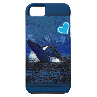 I heart Whales a treasure in blue iphone case