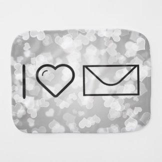 I Heart White Envelopes Baby Burp Cloths