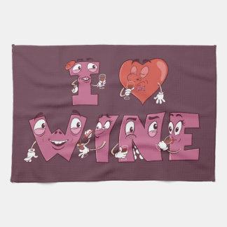 I Heart Wine Characters Hand Towels