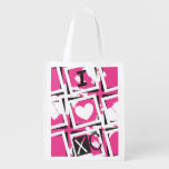 I Heart XC Running Grocery Bag PINK Cross Country Market Totes