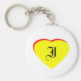 """I"" Heart Yellow Red Wedding Invitation The MUSEUM Keychain"