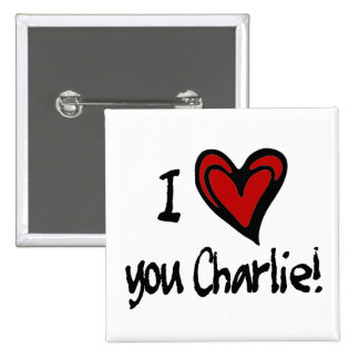 I heart you Charlie Pinback Button
