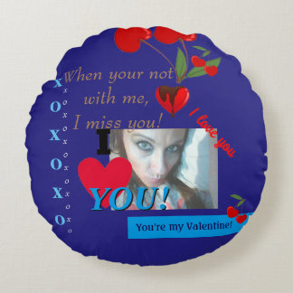 I heart you Valentines Day Boyfriend Photo Round Cushion