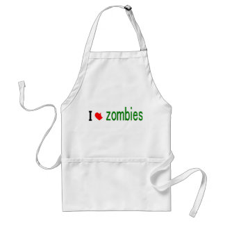 I heart zombies adult apron