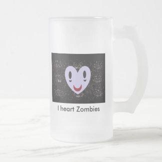 I heart Zombies Frosted Glass Mug