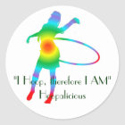 """""""I Hoop, therefore I AM"""" Classic Round Sticker"""