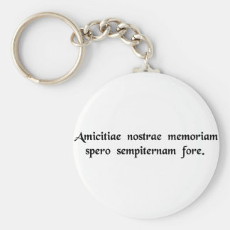 I hope that the memory of our friendship will..... basic round button key ring