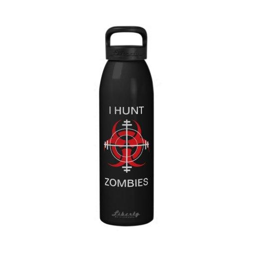 I HUNT ZOMBIES (for dark bottles) Reusable Water Bottles