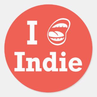 I [☺] Indie Round Sticker