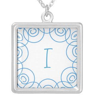 """I"" initial in Blue Scroll on White, Fun Design Custom Jewelry"