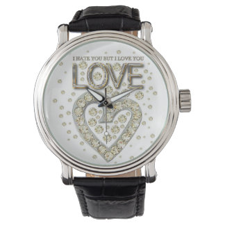 i is you to you but i love you love diamons wrist watch