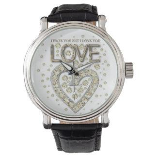 i is you to you but i love you love diamons wrist watch