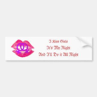 """I Kiss Girls"" Bumper Sticker"