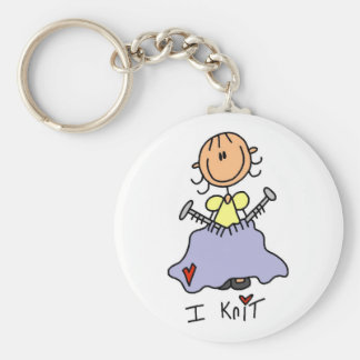 I Knit Stick Figure Tshirts and Gifts Key Ring