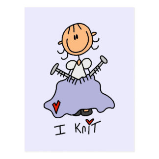 I Knit Stick Figure Tshirts and Gifts Postcard