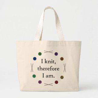I knit, therefore I am tote Canvas Bag