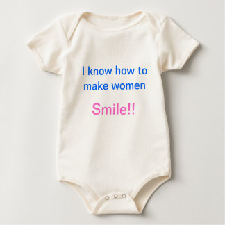 I know how to make women smile baby bodysuits