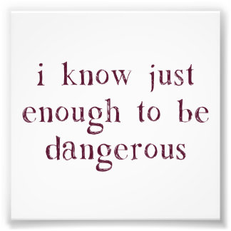 I Know Just Enough To Be Dangerous Photo Print