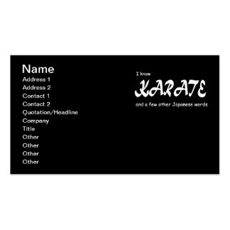 I know Karate and other Japanese Words. Funny. Business Cards