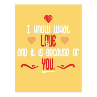 I Know What Love is Love Quote Postcard