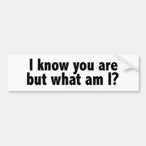 I Know You Are What Am I Bumper Sticker