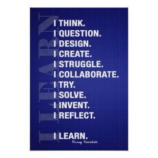 I Learn (Blueprint Style) Poster
