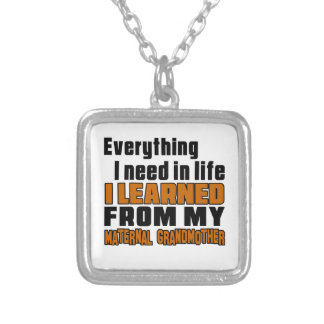 I Learned From Maternal grandmother Square Pendant Necklace