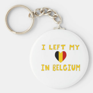 I Left My Heart in Belgium Basic Round Button Key Ring