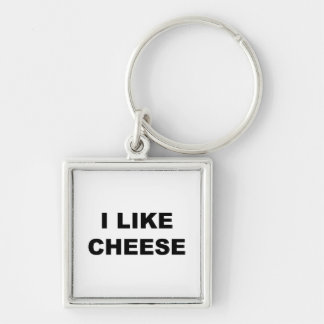 I Like Cheese Silver-Colored Square Key Ring
