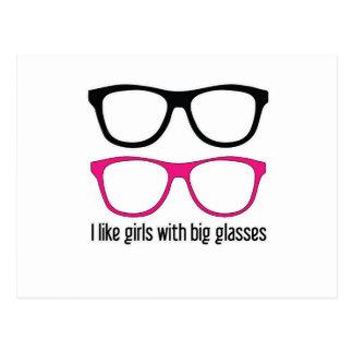 I like girls with big glasses postcard