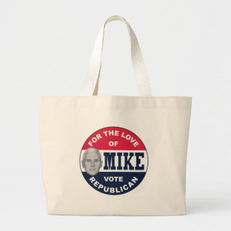 I-LIKE-MIKE-BUTTON-REPUBLICAN LARGE TOTE BAG
