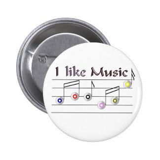 I like Music 6 Cm Round Badge