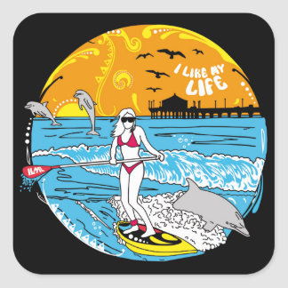 """I like MY life"" stand-up paddle boarding stickers"