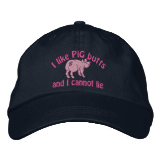 I Like Pig Butts Bacon and This Cute little Pig Embroidered Hats