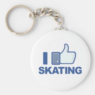 I LIKE SKATING facebook LIKE thumb up graphic Keychain