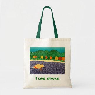 I like sticks-Tote Bag-Stephen Huneck Tote Bag