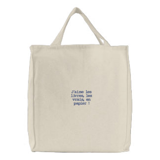 I like the books embroidered tote bags