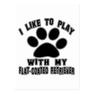 I like to play with my Flat-Coated Retriever. Postcard