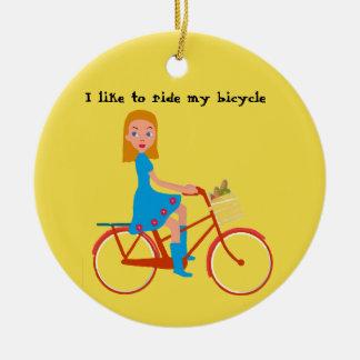 I like to ride my bike ceramic ornament