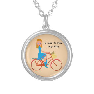 I like to ride my bike silver plated necklace