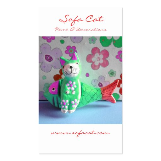 I Like To Sit Awhile And Think (Green Cat) Business Cards