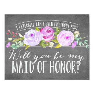 I Literally Can't Even | Maid Of Honor 11 Cm X 14 Cm Invitation Card