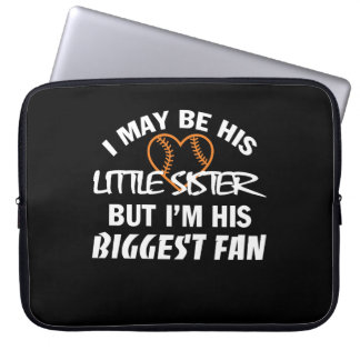 I Little Sister Im His Biggest Fan Shirt Laptop Sleeve