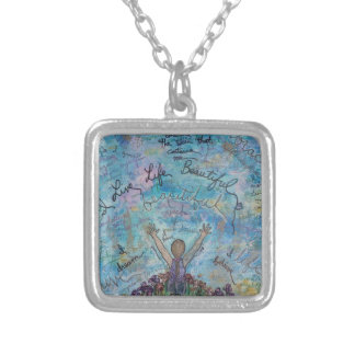 I live life beautiful silver plated necklace
