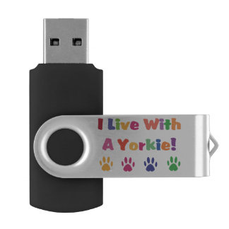 I Live With A Yorkie Swivel USB 2.0 Flash Drive