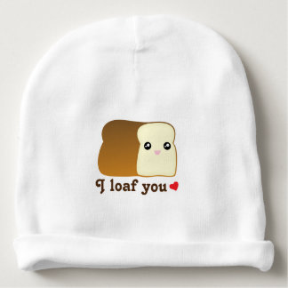 I Loaf You Kawaii Bread Cartoon Food Pun Unisex Baby Beanie