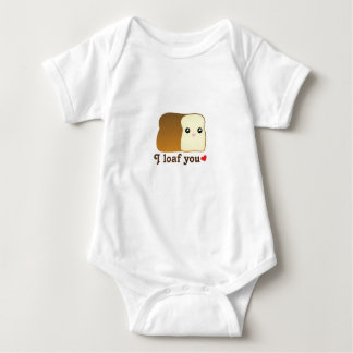 I Loaf You Kawaii Bread Food Pun Cartoon Unisex Baby Bodysuit