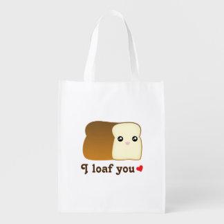 I Loaf You Kawaii Bread Funny Cartoon Food Pun