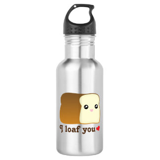 I Loaf You Kawaii Bread Funny Cartoon Food Pun 532 Ml Water Bottle