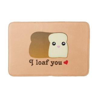 I Loaf You Kawaii Bread Funny Cartoon Food Pun Bath Mat